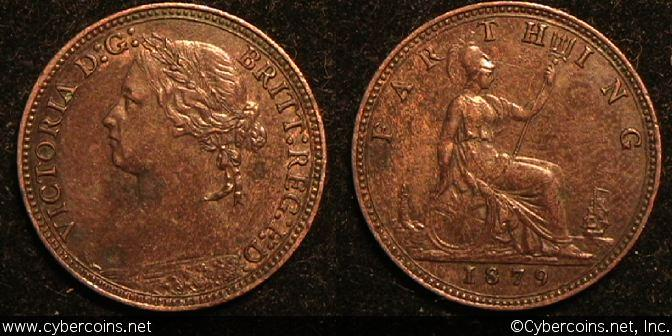 Great Britain, 1879, 1 farthing, AU, KM753