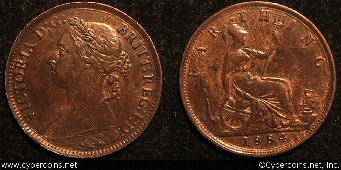 Great Britain, 1884, 1 farthing, UNC-, KM753