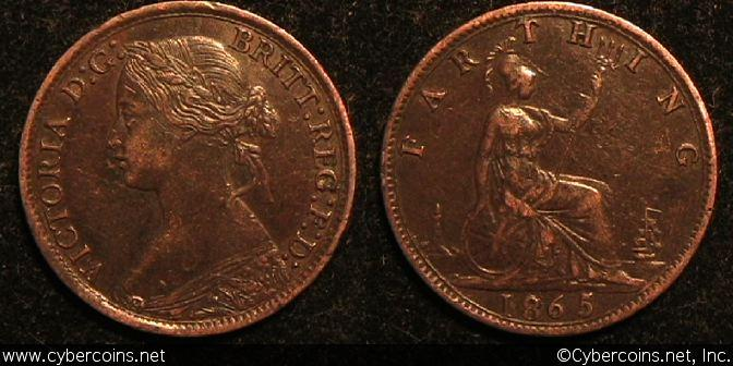 Great Britain, 1865/62, farthing, AU/XF