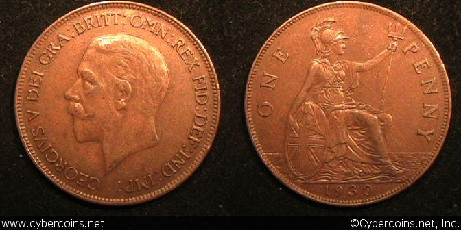Great Britain, 1930, 1 penny, XF, KM838