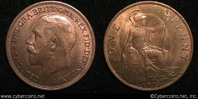 Great Britain, 1913, Penny, AU, KM810