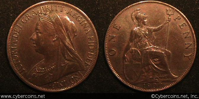 Great Britain, 1900, Penny, XF/AU, KM790