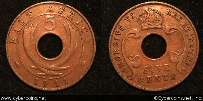 East Africa, 1941, 5 cents, VF, KM25.1