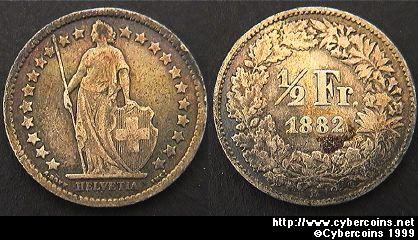 Switzerland, 1882B,  1/2 franc, VF, KM23