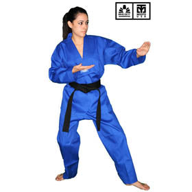 BEST RIBBED FABRIC BLUE TAEKWONDO UNIFORM