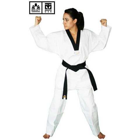 BEST RIBBED FABRIC BLACK COLLAR V-NECK TAEKWONDO UNIFORM