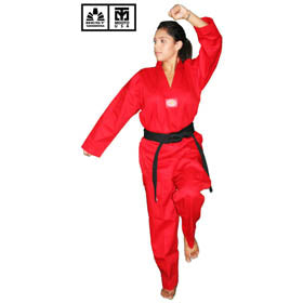 BEST RIBBED FABRIC RED TAEKWONDO UNIFORM