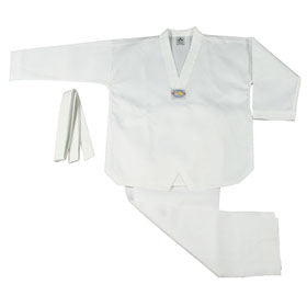 BEST RIBBED FABRIC WHITE V-NECK TAEKWONDO UNIFORM