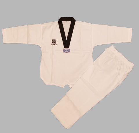 ELEMENT RIBBED FABRIC BLACK COLLAR V-NECK TAEKWONDO UNIFORM