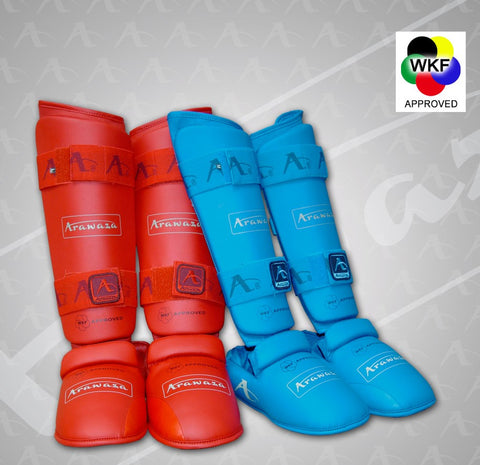 ARAWAZA WKF APPROVED SHIN AND INSTEP PROTECTOR - RED/BLUE