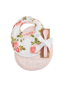 Mudpie Rose Muslin Bib/Spoon Set