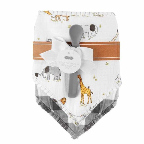 MudPie Safari Muslin Bib & Spoon Set
