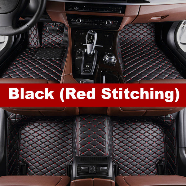 Luxury Diamond Stitched Floor Mats Black With Red Stitching