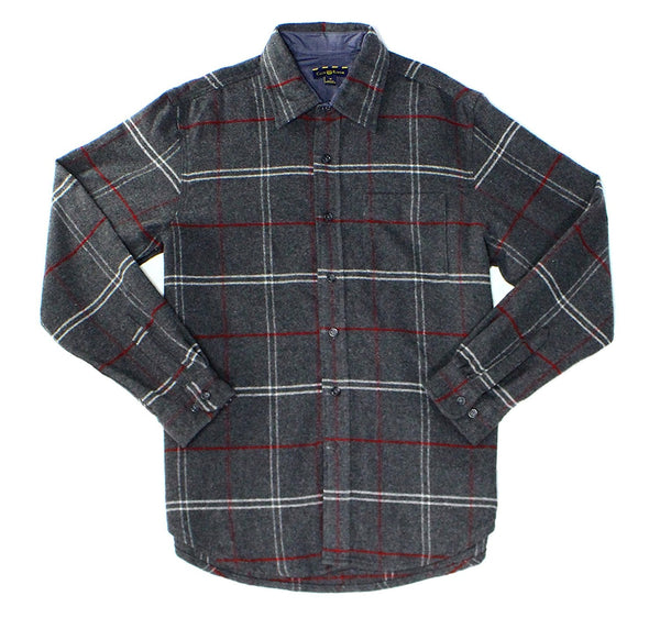 Club Room Wool Blend Button Down Shirt, Charcoal Htr XL