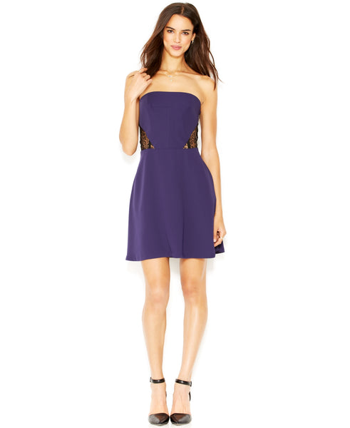 Rachel Rachel Roy Women's Strapless Lace-Paneled Dress
