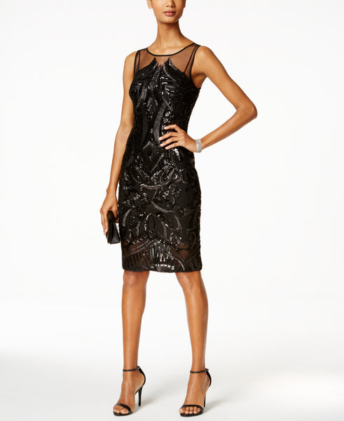 Adrianna Papell Women's Sequined Illusion Sheath Dress
