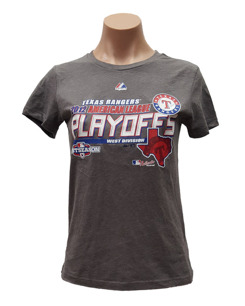 Majestic Texas Rangers 2012 NL American League Playoffs Women's Clubhouse T-Shirt
