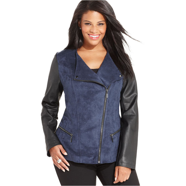 Alfani Women's Faux Leather Suede Motor Jacket