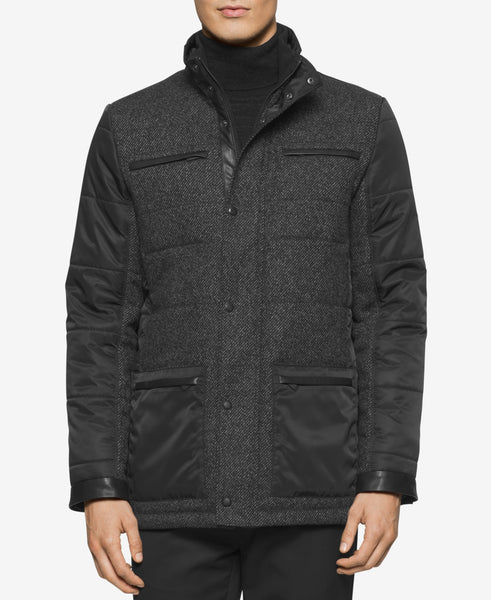Calvin Klein Men's Mixed-Media Quilted Pea Coat