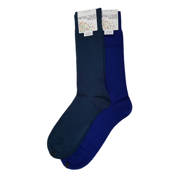 Alfani Spectrum Dress Socks, Multi Color Set Of 2 (10-13, Cobalt/Storm Blue)