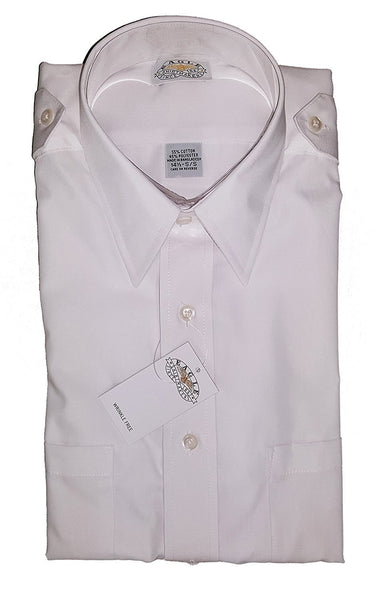 Eagle Shirtmakers Men's Hem Pocket Aviator Style Short Sleeve Shirt, White