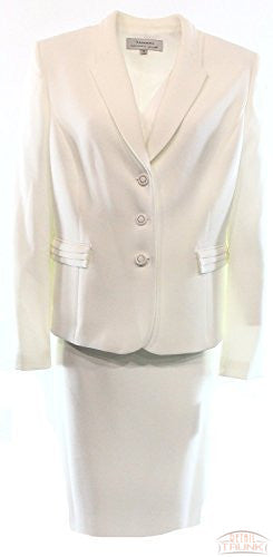 Tahari By ASL Women's 3-Button Crepe Skirt Suit Set, Pearl White, 8P