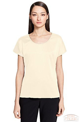 St. John Collection Silk Charmeuse Cap Sleeve Blouse, Cream
