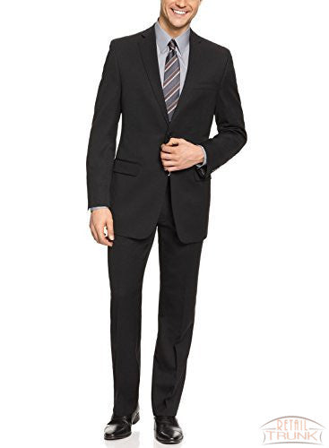 DKNY Mens Black Micro Tonal Stripe Trim Fit Wool Suit- Size 38R