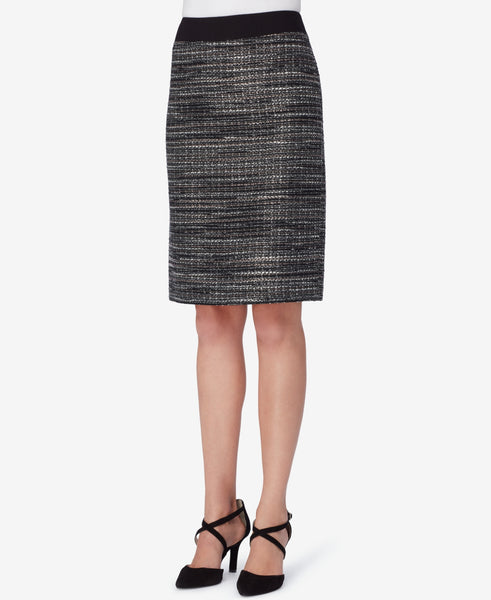 Tahari ASL Women's Metallic Bouclé Pencil Skirt