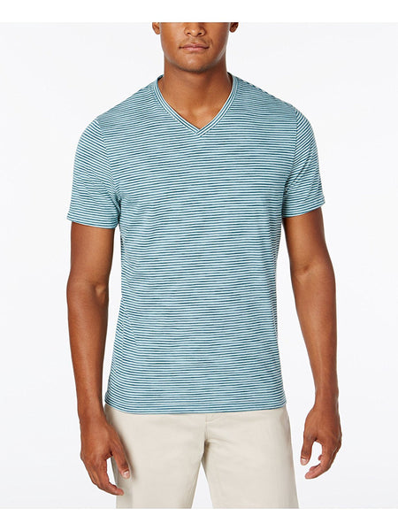 Alfani Men's Premium Stripe V-Neck T-Shirt, Green Large