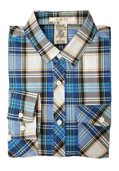 Blue Gear Men's Slim Fit Long Sleeve Plaid Shirt