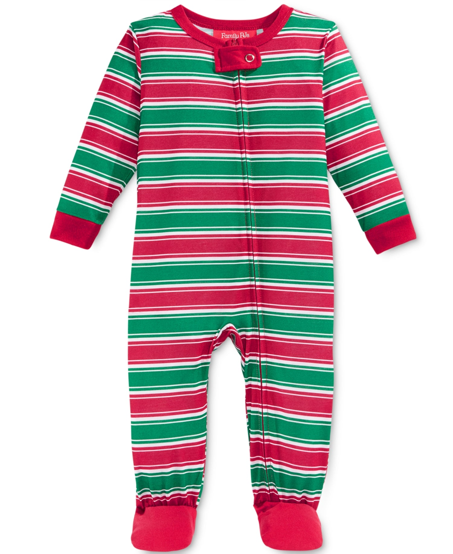 7737fbaabd99 Family Pajamas Baby Boys  or Baby Girls  Holiday Stripe Knit Footed ...