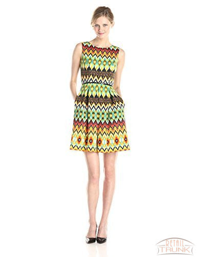 Ellen Tracy Women's Sleeveless Fit-and-Flare Belted Dress