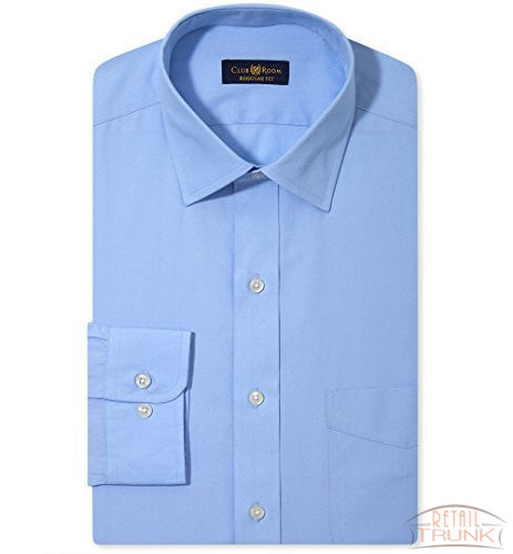 Club Room Estate Wrinkle Resistant Solid Dress Shirt, Rich Blue, 151/2, 34-35