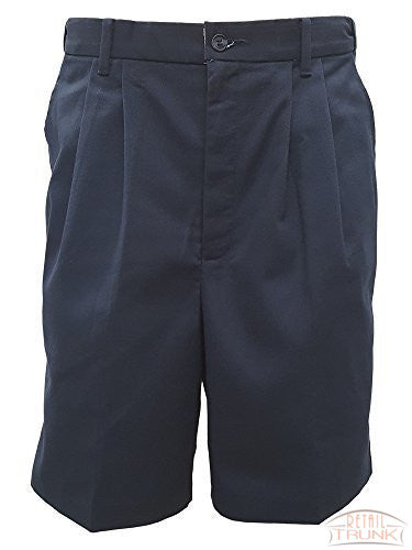 Edwards 2478 Men's Easy Fit Pleated Front Chino Uniform Shorts, Navy, 30