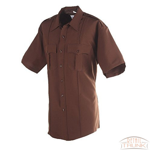 Flying Cross 85R7884Z Men's Short Sleeve Uniform Shirt, Brown, 23