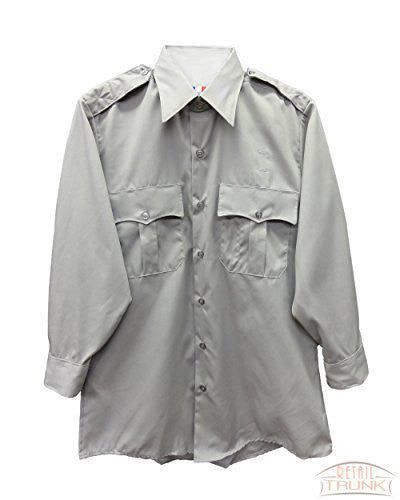 Flying Cross 15W5441 Men's Long Sleeve Uniform Shirt, Grey, 15-30