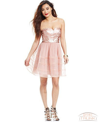 Betsey Johnson Strapless Faux-Leather Chiffon Dress, Rose, 12