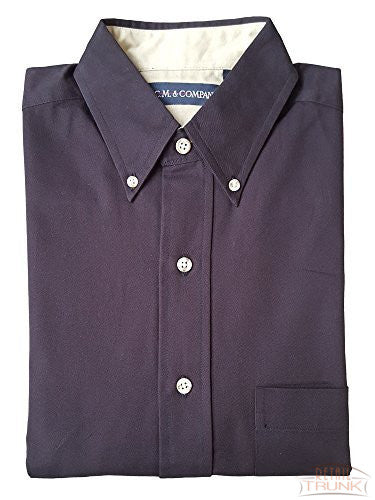 C.M.& COMPANY Men's Button-Down Long Sleeve Uniform Shirt, Dark Brown, XS