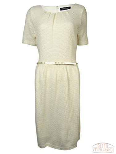 Ellen Tracy Women's Belted Metallic Knit Sweater Dress