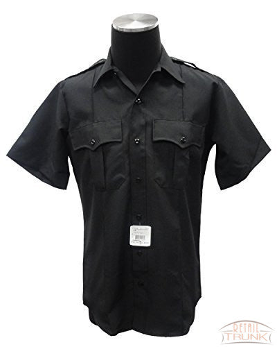 Flying Cross 87R7810Z Men's Uniform Short Sleeve Visa® System 3TM Shirt, Black