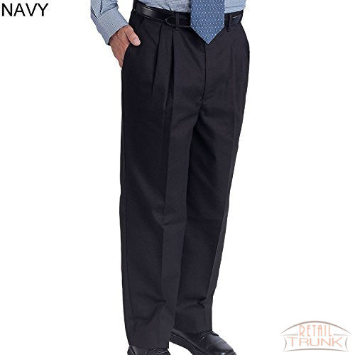 Edwards 2678 Men's Easy Fit Pleated Front Chino Uniform Pant, Navy, 44