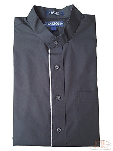 DAMON Men's Ultra Poplin Long Sleeve Uniform Shirt, Black
