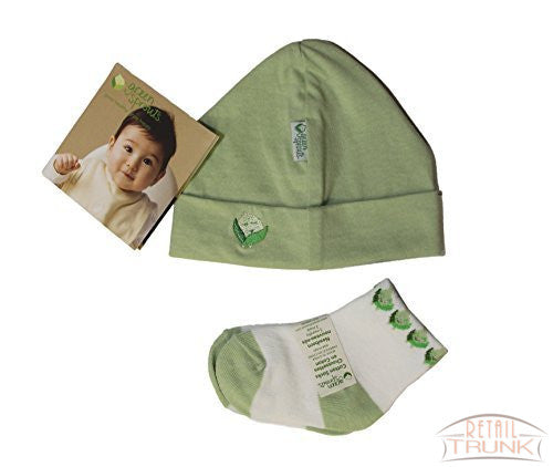 iPlay Green Sprouts Baby 2 Piece Layette Set, Hat and Socks, 0-3 Months