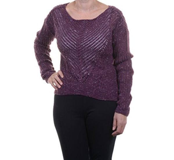 Bar III Womens Table Open Knit LS Sweater