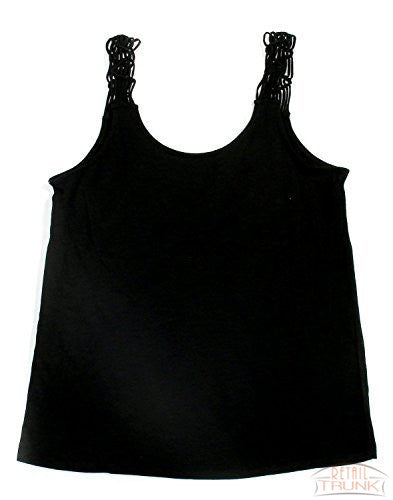 Hue Solid Sleep Tank With Macrame Straps, Black, S