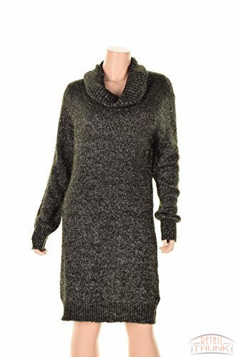 Bar III Womens Metallic Ribbed Trim Sweaterdress