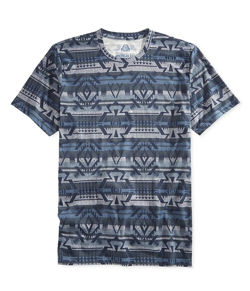American Rag Mens Geo-Print Basic T-Shirt, Storm Cloud Large