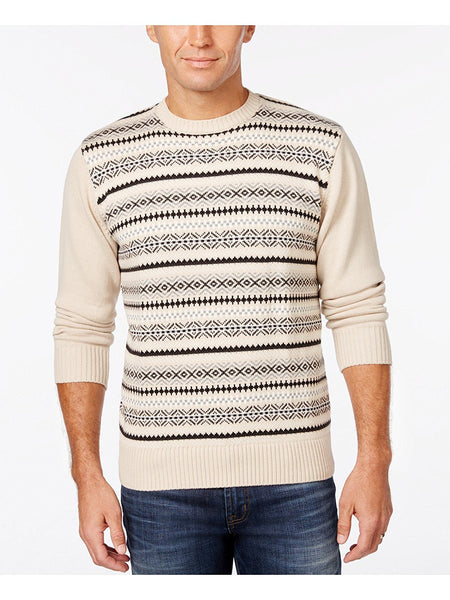 Weatherproof Vintage Mens Fair Isle Sweater Oatmeal