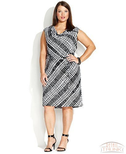 Calvin Klein Cap-Sleeve Geo-Print Cowl-Neck Dress, Black White, 3X